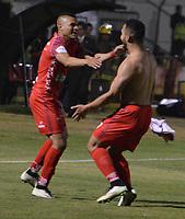 TUNJA - COLOMBIA - 15 - 02 - 2018: Los jugadores Patriotas F. C., celebran el gol anotado a Atletico Nacional, durante partido Patriotas FC y Atletico Nacional, de la fecha 3 por la Liga de Aguila I 2018 en el estadio La Independencia en la ciudad de Tunja. / The players of Patriotas F. C., celebrate a scored goal to Atletico Nacional, during a match between Patriotas F. C. and Atletico Nacional, of the date 2th for the Liga de Aguila I 2017 at La Independencia stadium in Tunja city. Photo: VizzorImage  /  Jose Miguel Palencia / Cont. (Mejor Calidad Disponible / Best Quality Available)