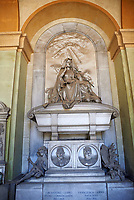 Pictures of the Neo classical style stone sculpture of the Curro Family Tomb sculpted by G Navonne in 1895. The monumental tombs of the Staglieno Monumental Cemetery, Genoa, Ital