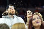 Competitive eater Kevin Strahle is seen on stage during Wing Bowl XXIV, on February 2nd, 2016, in Philadelphia, PA