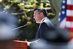 Nevada Gov. Brian Sandoval speaks at the annual Law Enforcement Officers Memorial ceremony on Thursday, May 1, 2014, in Carson City, Nev.  (Las Vegas Review-Journal/Cathleen Allison)