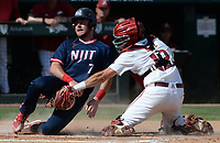Arkansas catcher Casey Opitz tags out New Jersey Institute of Technology catcher Paul Franzoni Friday, June 4, 2021, after fielding the throw from right fielder Matt Goodheart during the seventh inning of the Razorbacks' 13-8 win over  in the first game of the NCAA Fayetteville Regional at Baum-Walker Stadium in Fayetteville. Visit nwaonline.com/210605Daily/ for today's photo gallery.<br /> (NWA Democrat-Gazette/Andy Shupe)