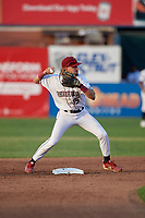 Mahoning Valley Scrappers Raynel Delgado (15) turns a double play during a NY-Penn League game against the Hudson Valley Renegades on July 15, 2019 at Eastwood Field in Niles, Ohio.  Mahoning Valley defeated Hudson Valley 6-5.  (Mike Janes/Four Seam Images)