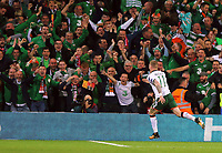 James McClean of Ireland celebrates his goal during the FIFA World Cup Qualifier Group D match between Wales and Republic of Ireland at The Cardiff City Stadium, Wales, UK. Monday 09 October 2017