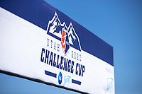 HERRIMAN, UT - JULY 4: Utah 2020 Challenge Cup Banner during a game between Sky Blue FC and Utah Royals FC at Zions Bank Stadium on July 4, 2020 in Herriman, Utah.