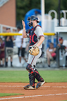 Danville Braves catcher Alan Crowley (27) gives defensive signals during the game against the Burlington Royals at Burlington Athletic Stadium on August 12, 2017 in Burlington, North Carolina.  The Braves defeated the Royals 5-3.  (Brian Westerholt/Four Seam Images)