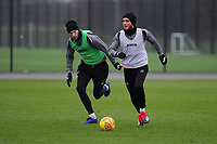 Mike van der Hoorn vies for possession with Matt Grimes of Swansea City during the Swansea City Training at The Fairwood Training Ground in Swansea, Wales, UK. Tuesday 05 February 2019