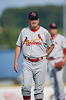 Johnson City Cardinals pitching coach Rick Harig (21) walks back to the dugout during the first game of a doubleheader against the Princeton Rays on August 17, 2018 at Hunnicutt Field in Princeton, Virginia.  Johnson City defeated Princeton 6-4.  (Mike Janes/Four Seam Images)