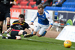 St Johnstone v Partick Thistle…28.04.18…  McDiarmid Park    SPFL<br />George Wiliams is taken out by Niall Keown<br />Picture by Graeme Hart. <br />Copyright Perthshire Picture Agency<br />Tel: 01738 623350  Mobile: 07990 594431
