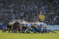 Danny Care of Harlequins puts the ball ino a scrum cduring the Aviva Premiership match between Harlequins and Bath Rugby at The Twickenham Stoop on Saturday 24th March 2012 (Photo by Rob Munro)