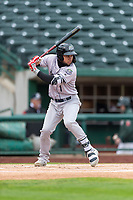 Kane County Cougars Eduardo Diaz (1) at bat during a Midwest League game against the Fort Wayne TinCaps at Parkview Field on April 30, 2019 in Fort Wayne, Indiana. Kane County defeated Fort Wayne 7-4. (Zachary Lucy/Four Seam Images)