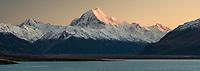 Dawn on Aoraki Mount Cook and Lake Pukaki, Aoraki Mount Cook National Park, UNESCO World Heritage Area, Mackenzie Country, New Zealand, NZ