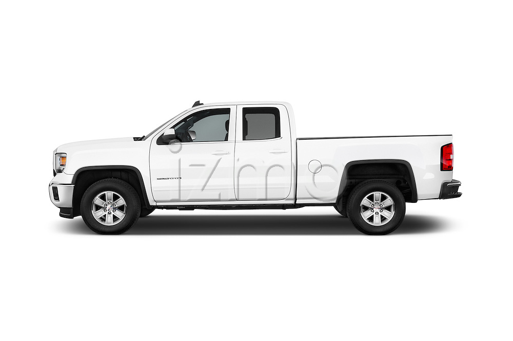 Car Driver side profile view of a 2015 GMC Sierra 1500 SLE 4 Door Pick-up Side View