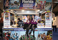 ***NO FEE PIC*** 28/01/2011 Denise Breen & Erica O' Reilly from American holidays stall as part of the USA stalls during the Holiday World Show in the RDS which runs from Friday 28th Jan - Sunday 30th Jan, Dublin. Photo: Gareth Chaney Collins