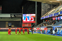players entering the field pictured before a soccer game between the national teams Under21 Youth teams of Belgium and Denmark on the fourth matday in group I for the qualification for the Under 21 EURO 2023 , on tuesday 12 th of october 2021  in Leuven , Belgium . PHOTO SPORTPIX   STIJN AUDOOREN