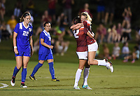 NWA Democrat-Gazette/MICHAEL WOODS • @NWAMICHAELW<br /> Stefani Doyle (17) of Arkansas celebrates with teammate Claire Kelley (12) after scoring the Razorbacks second goal in the second half Friday, August 26, 2016 during their game against Duke at Razorback field in Fayetteville.