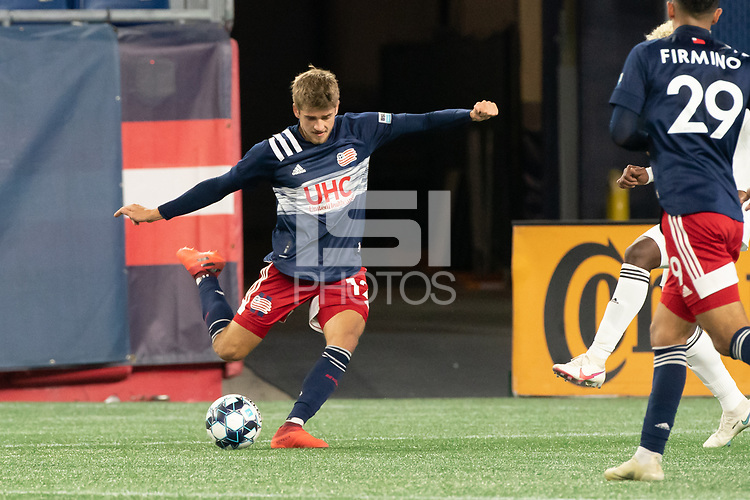 FOXBOROUGH, MA - OCTOBER 09: Justin Rennicks #12 of New England Revolution II crosses the ball to the Fort Lauderdale goal during a game between Fort Lauderdale CF and New England Revolution II at Gillette Stadium on October 09, 2020 in Foxborough, Massachusetts.