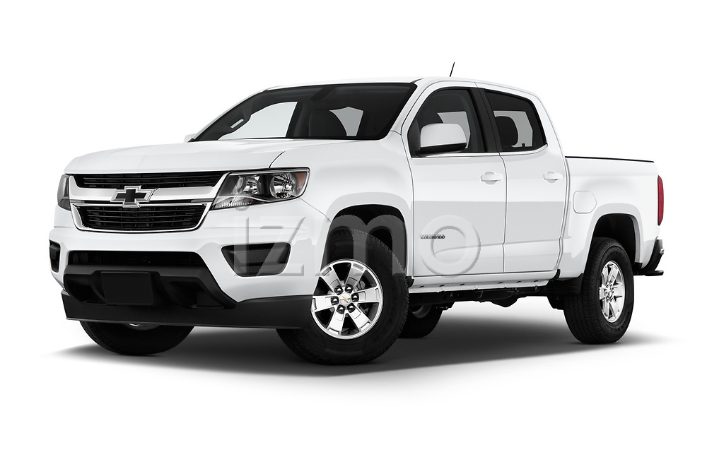 Stock pictures of low aggressive front three quarter view of 2019 Chevrolet Colorado WT 4 Door Pick-up Low Aggressive