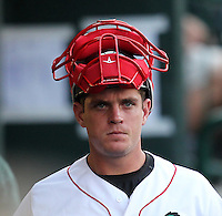 Great Lakes Loons catcher J.T. Wise (31) during a game vs. the Dayton Dragons at Dow Diamond in Midland, Michigan August 19, 2010.   Great Lakes defeated Dayton 1-0.  Photo By Mike Janes/Four Seam Images
