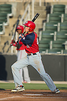 Alec Keller (40) of the Hagerstown Suns follows through on his swing against the Kannapolis Intimidators at CMC-Northeast Stadium on June 16, 2015 in Kannapolis, North Carolina.  The Suns defeated the Intimidators 8-4.  (Brian Westerholt/Four Seam Images)