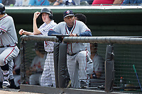 Rome Braves hitting coach Bobby Moore looks on from the dugout during the game against the Kannapolis Intimidators at Kannapolis Intimidators Stadium on April 12, 2017 in Kannapolis, North Carolina.  The Braves defeated the Intimidators 4-3.  (Brian Westerholt/Four Seam Images)