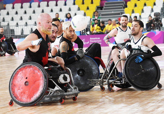 Zak Madell, Trevor Hirschfield, Lima 2019 - Wheelchair Rugby // Rugby en fauteuil roulant.<br /> Canada takes on the USA in wheelchair rugby // Le Canada affronte les États-Unis au rugby en fauteuil roulant. 27/08/2019.