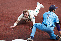 Dominic Pilolli (22) of the Charlotte 49ers slides head first into third base against the Old Dominion Monarchs at Hayes Stadium on April 25, 2021 in Charlotte, North Carolina. (Brian Westerholt/Four Seam Images)