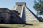 El Castillo or Pyramid of Kukulcan and the Platform of Venus, Chichen Itza, Yucatan, Mexico