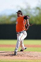 San Francisco Giants pitcher Keury Mella (60) during an Instructional League game against the Oakland Athletics on October 15, 2014 at Papago Park Baseball Complex in Phoenix, Arizona.  (Mike Janes/Four Seam Images)