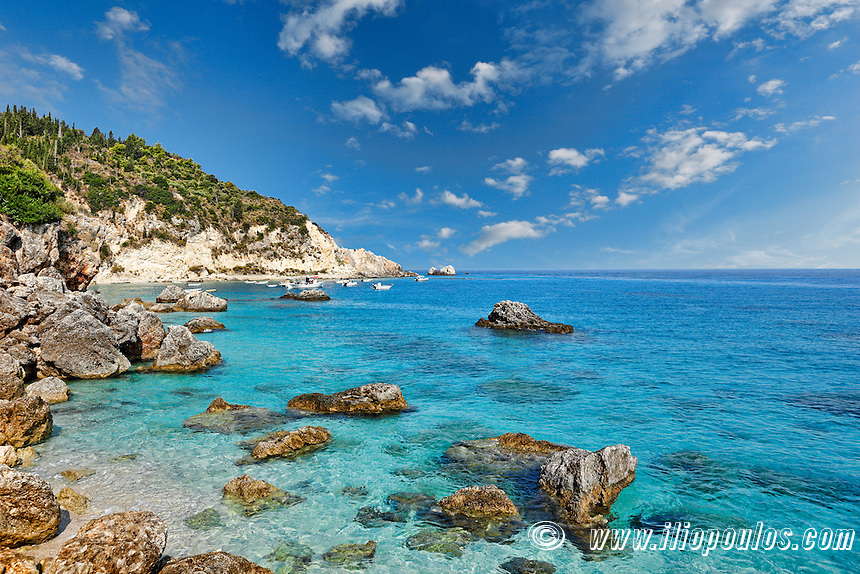 The famous village Agios Nikitas in Lefkada, Greece