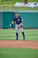 Joseph Rosa (3) of the Tacoma Rainiers on defense against the Salt Lake Bees at Smith's Ballpark on May 16, 2021 in Salt Lake City, Utah. The Bees defeated the Rainiers 8-7. (Stephen Smith/Four Seam Images)