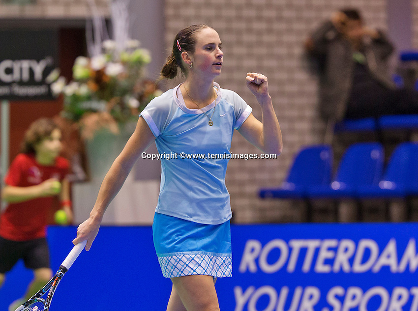 December 20, 2014, Rotterdam, Topsport Centrum, Lotto NK Tennis, Woman's semifinal,  Bibianne Weijers(NED) jubilates her victory over Lemoine<br /> Photo: Tennisimages/Henk Koster