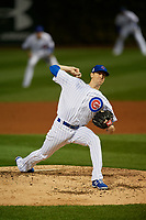 Chicago Cubs pitcher Kyle Hendricks (28) delivers a pitch in the fifth inning during Game 3 of the Major League Baseball World Series against the Cleveland Indians on October 28, 2016 at Wrigley Field in Chicago, Illinois.  (Mike Janes/Four Seam Images)