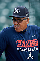 Mississippi Braves manager Luis Salazar (4) during batting practice before a game against the Montgomery Biscuits on April 24, 2017 at Montgomery Riverwalk Stadium in Montgomery, Alabama.  Montgomery defeated Mississippi 3-2.  (Mike Janes/Four Seam Images)
