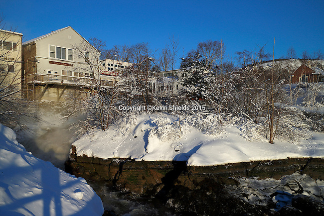 View of Camden at low tide after a snowstorm, Camden, Maine, USA.