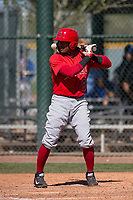 Los Angeles Angels second baseman Gleyvin Pineda (86) during a Minor League Spring Training game against the Chicago Cubs at Sloan Park on March 20, 2018 in Mesa, Arizona. (Zachary Lucy/Four Seam Images)