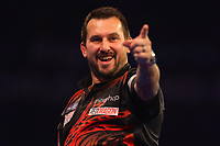 9th October 2021; Morningside Arena, Leicester, England; PDC BoyleSports Darts World Grand Prix finals ; Jonny Clayton celebrates as he checks out on 164