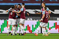 Angelo Ogbonna of West Ham United scores the first Goal and celebrates  during West Ham United vs Aston Villa, Premier League Football at The London Stadium on 30th November 2020