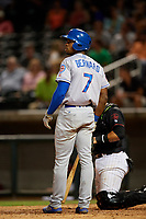 Tennessee Smokies center fielder Wynton Bernard (7) at bat during a game against the Birmingham Barons on August 16, 2018 at Regions FIeld in Birmingham, Alabama.  Tennessee defeated Birmingham 11-1.  (Mike Janes/Four Seam Images)