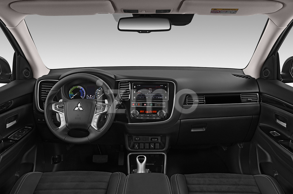 Stock photo of straight dashboard view of a 2019 Mitsubishi Outlander PHEV Intense 5 Door SUV