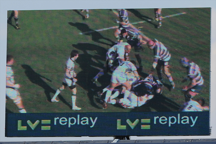 General view of the big screen during the LV= Cup Final match between Leicester Tigers and Northampton Saints at Sixways Stadium, Worcester on Sunday 18 March 2012 (Photo by Rob Munro, Fotosports International)
