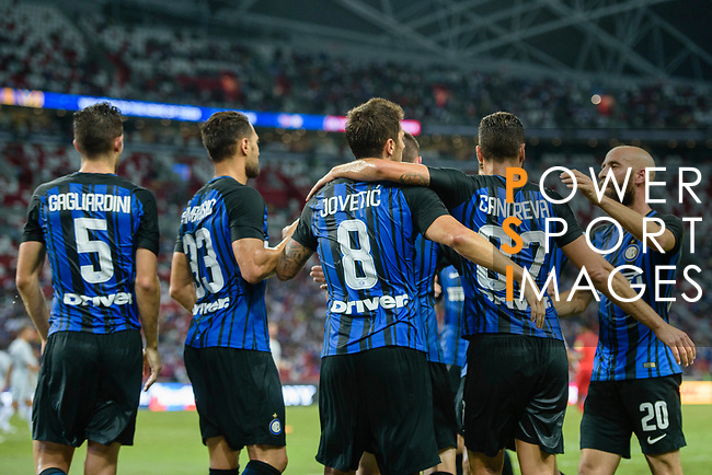 FC Internazionale Forward Stevan Jovetic (C) celebrates his goal with his teammates during the International Champions Cup 2017 match between FC Internazionale and Chelsea FC on July 29, 2017 in Singapore. Photo by Weixiang Lim / Power Sport Images