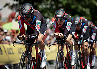 Later winners Team BMC during their 1st km of their TTT.<br /> <br /> Stage 3 (Team Time Trial): Cholet > Cholet (35km)<br /> <br /> 105th Tour de France 2018<br /> ©kramon