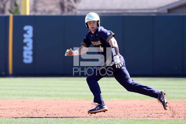 CHAPEL HILL, NC - MARCH 08: Carter Putz #4 of the University of Notre Dame takes a lead off of second base during a game between Notre Dame and North Carolina at Boshamer Stadium on March 08, 2020 in Chapel Hill, North Carolina.