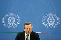 The Italian premier Mario Draghi attends a press conference after the minister's cabinet.<br /> Rome (Italy), October 5th 2021<br /> Photo Samantha Zucchi Insidefoto