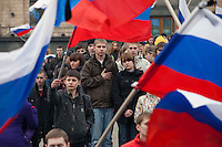 Moscow, Russia, 31/03/2010..Several thousand people attend a government sponsored rally against terrorism, organised by a range of pro-Kremlin youth movements, two days after the suicide bombings that killed 39 and injured 82 on the Moscow metro system.