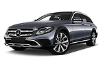 Stock pictures of low aggressive front three quarter view of 2017 Mercedes Benz E-Class All-Terrain 5 Door Wagon Low Aggressive