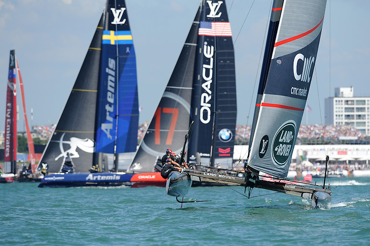 Land Rover BAR, JULY 23, 2016 - Sailing: Land Rover BAR approaches a mark during day one of the Louis Vuitton America's Cup World Series racing, Portsmouth, United Kingdom. (Photo by Rob Munro/Stewart Communications)
