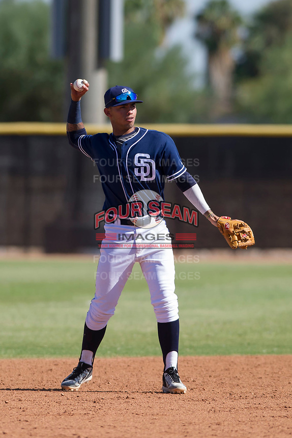 San Diego Padres shortstop Gabriel Arias (65) during an Instructional League game against the Milwaukee Brewers on September 27, 2017 at Peoria Sports Complex in Peoria, Arizona. (Zachary Lucy/Four Seam Images)