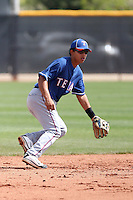Rougie Odor of the Texas Rangers is participating in spring training workouts at the Rangers minor league complex, on March 22, 2011  in Surprise, Arizona. .Photo by:  Bill Mitchell/Four Seam Images.