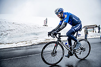 Pieter Serry (BEL/Deceuninck - Quick Step) coming over the Passo Giau<br /> <br /> due to the bad weather conditions the stage was shortened (on the raceday) to 153km and the Passo Giau became this years Cima Coppi (highest point of the Giro).<br /> <br /> 104th Giro d'Italia 2021 (2.UWT)<br /> Stage 16 from Sacile to Cortina d'Ampezzo (shortened from 212km to 153km)<br /> <br /> ©kramon